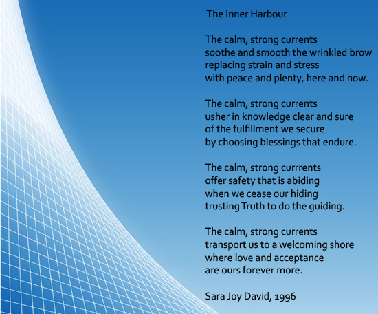 The Inner Harbour, a poem written by psychologist Sara David Joy.